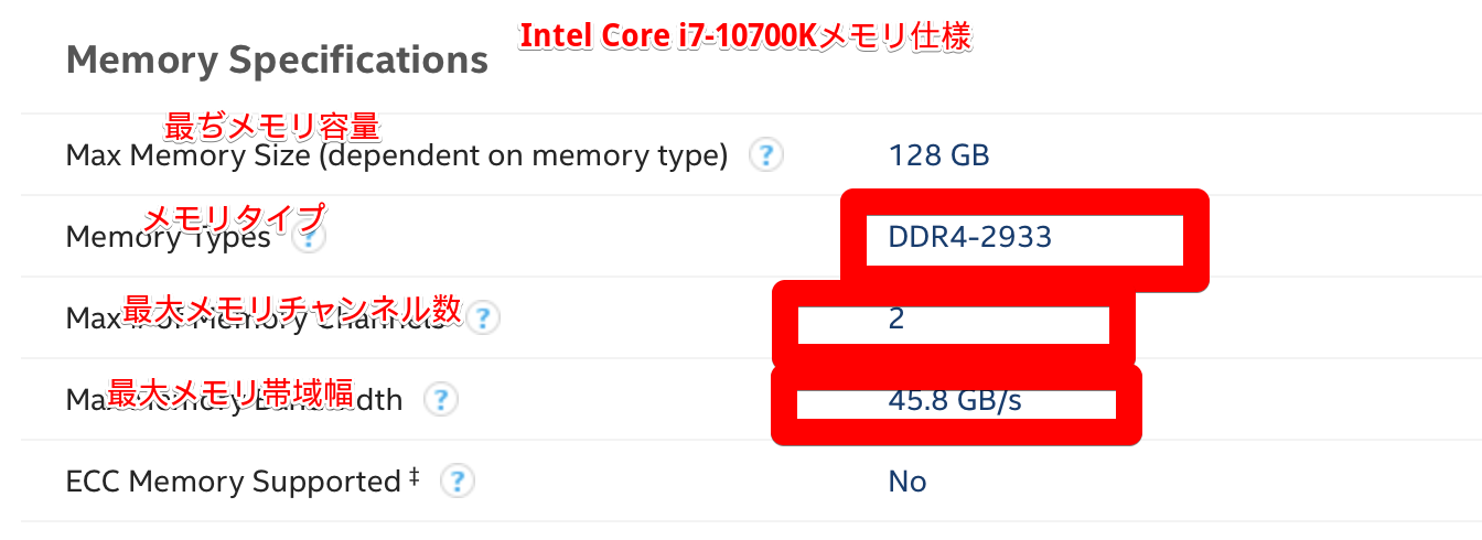 Intel Core i7-10700Kメモリ仕様について、Intel® Core™ i7-10700K Processor (16M Cache, up to 5.10 GHz) Product Specifications